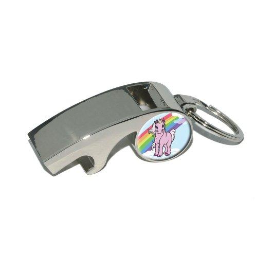 Rosa-Einhorn-auf-Cloud-Rainbow-Pony-Vergoldetes-Metall-Whistle-Flaschenffner-Schlsselanhnger-Ring