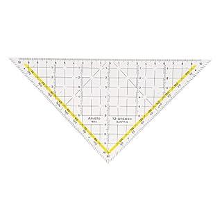 Aristo TZ-Dreieck (Geodreieck 1650/1 aus Plexiglas, ohne Facetten, mit Tuschenoppen, Hypotenuse 225 mm)
