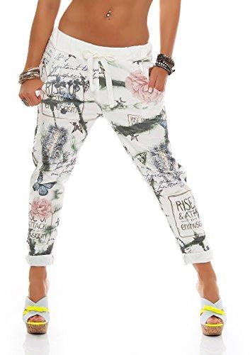 zarmexx Mujer Baggy-Pantalón Boyfriend Pantalones Harén Pantalones Pantalones de deporte con flor impresión algodón One Size verde Einheitsgröße
