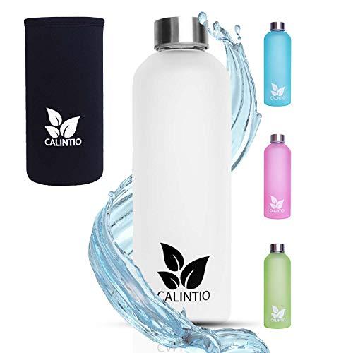 Calintio Designer Trinkflasche aus Glas - 550ml & 750ml - BPA frei, auslaufsicher und perfekt für unterwegs - hochwertige Glasflasche mit Neopren Schutzhülle ... (750 ml, Weiß) (750 Ml Glasflaschen)