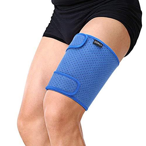 Doact Oberschenkel Support Brace verstellbaren Compression Oberschenkel Sleeve mit rutschfestem Klettverschluss für Wunde Kniesehne, Leiste & Quad, Frauen & Herren, Blau