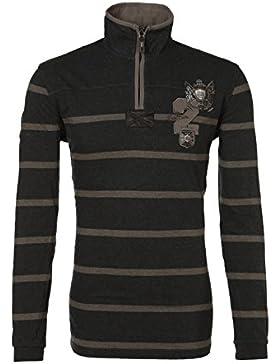 Van Santen amp Hombre Sweater Jersey Sudadera con zip cierre de rugby de camiseta marrón rayas Striped Rugby Plain...