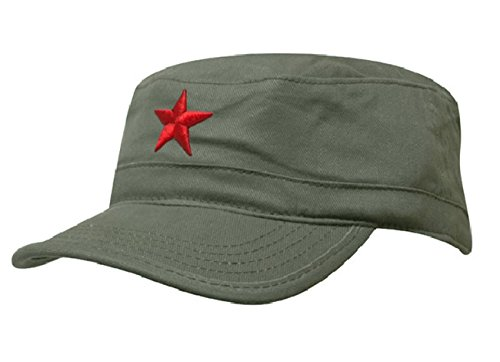 Damen Heren RUSSISCHE MILITÄRMÜTZE Roter Stern Fancy Dress Fidel Castro Vintage Military Mütze Cap (Green Red Star)