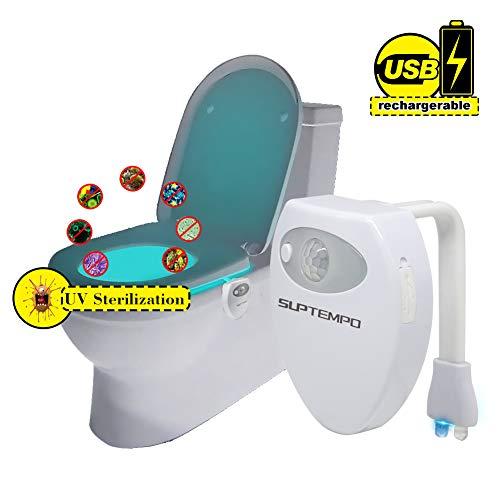 Recargable Esterilizadora UV WC Luz de inodoro - GLAMSVILL Impermeable LED Luz Nocturna con 16 Colores y Sensor de Movimiento Iluminación Para Inodoro para su Baño, Hotel, Café Bar