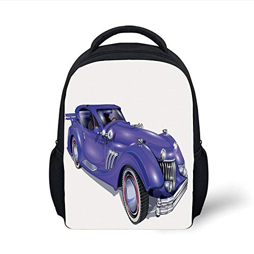 Kids School Backpack Cars,Custom Vehicle with Aerodynamic Design for High Speeds Cool Wheels Hood Spoilers Decorative,Violet Blue Plain Bookbag Travel Daypack