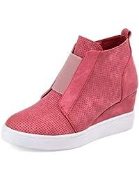 Botines Mujer Cuña Planos Invierno Planas Botas Tacon Casual Zapatos para Dama Plataforma 5cm Elegante Zapatillas