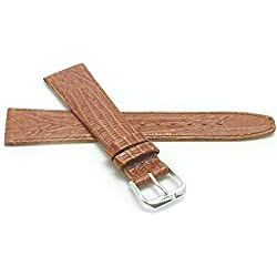14mm, Tan Womens', Slim, Lizard Style, Genuine Leather Watch Band Strap, Also Comes in Black, Brown and Blue