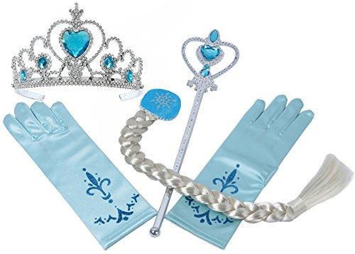 Preisvergleich Produktbild Vamei Prinzessin Dress up Zubehör - 4 Stück Geschenk-Set Tiara Crown Perücke Wand-Handschuhe Blau