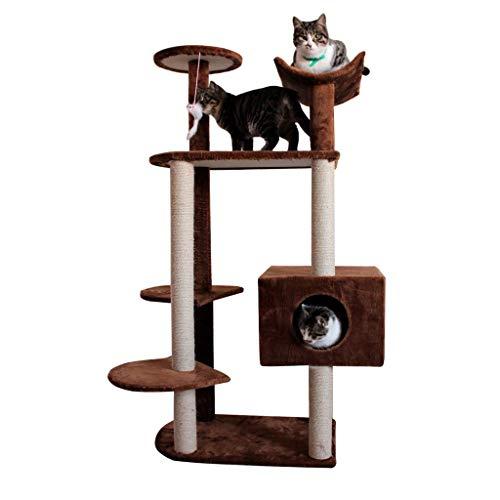 Pet Cuisine Albero Tiragraffi, Torre for Gatti/Mobili condominio for Alberi for Gatti/con tiragraffi for Gattini Gioco Animali Domestici/Altezza 130 cm / 7 Colori (Color : Brown)