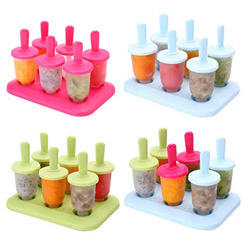 Yintiod Gefrorenes EIS Pop EIS am Stiel Mold Tray Pan 6 Zellen Lolly Mold Maker Küche DIY Sommer Set
