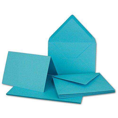 20x Faltkarten Set mit Brief-Umschlägen Türkis - DIN A6 / C6-14,8 x 10,5 cm | Premium Qualität | FarbenFroh® von Gustav NEUSER®