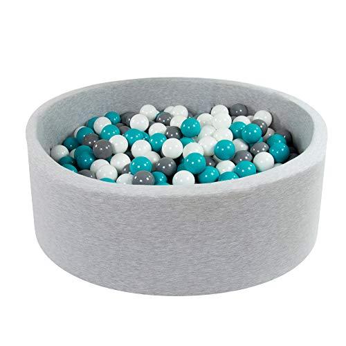 Angelove piscina di palline per bambini 7cm tondo grigioch 90x30cm/200 palline: turchese / grigio / bianco