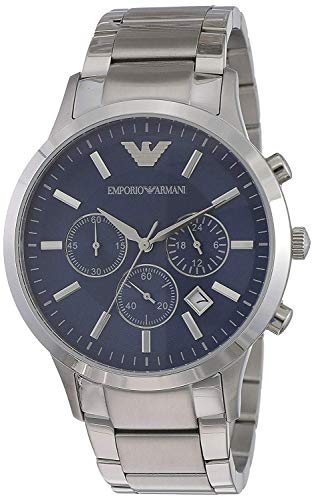 Emporio Armani AR2448Herren Quarz-Armbanduhr, blaues Zifferblatt, Edelstahl, Chronograph