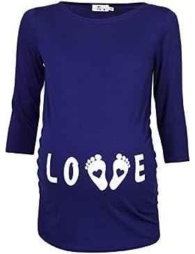 Happy Mama Donna Magliette Premaman T-shirt Divertente Piedi Neonato stampa 548p