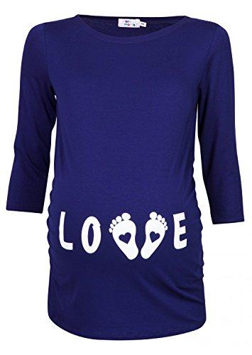 Happy mama donna magliette premaman t-shirt divertente piedi neonato stampa 548p (marina, it 44/46)