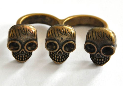 Vintage Retro Totenkopf Two - Finger - Ring Gothik, Punk