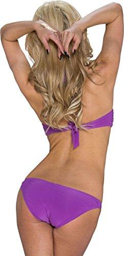 Damen Bikini Push-Up Bademode Badeanzug Monokini Uni Neckholder Einteiler 34,36,38. Lila