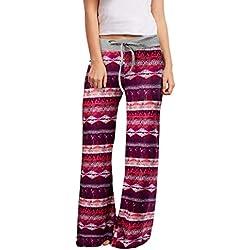 Loveternal Mujeres Pijama Pantalón Estilo Boho Impreso Cintura Elástica Harem Pantalones Boho Yoga Pants S