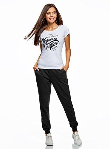 oodji Ultra Femme Pantalon en Maille avec Cordon de Serrage Noir (2900N)
