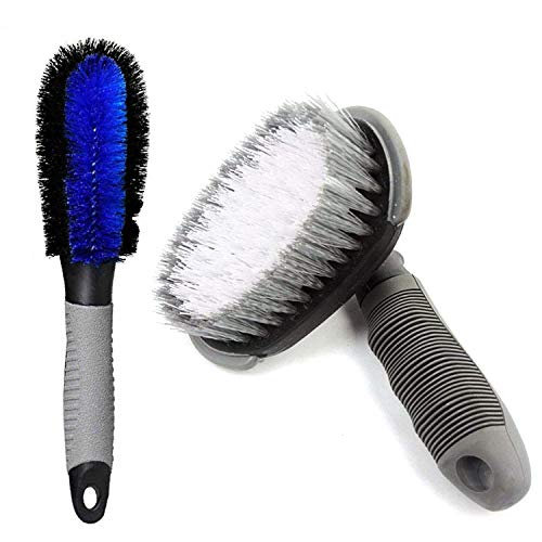 AllExtreme EXTCCP1 Motorcycle Car Tire Cleaning Brush Wheel Rim Scrubber Combo Soft Plastic Tyre Cleaners with Anti-Slip Rubber Handle