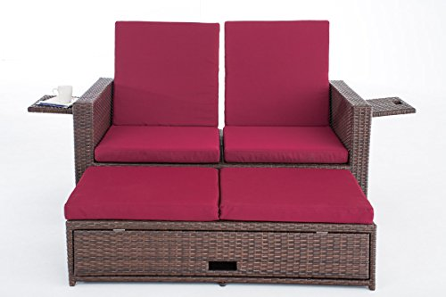 CLP Poly-Rattan 2er Lounge-Sofa ANCONA, ALU-Gestell, Fußteil ausziehbar, flexibel verstellbar, 7 Farben + 2 Rattan Stärken wählbar Rattan Farbe braun-meliert, Stärke 1,25 mm, Bezugfarbe: Rubinrot - 3