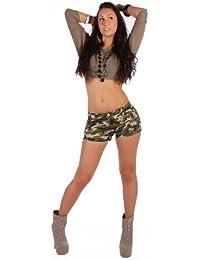 Hotpants Carmouflage Army Tarn Hüftjeans Jeans Shorts Shorty Gold Nieten XXS/32 - XL/42