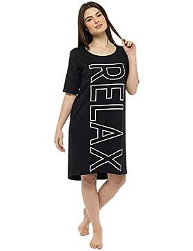 db2c312a1c da donna in Cotone Manica Lunga Stampa Camicia da notte Camicia da notte