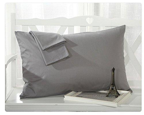 BLERA Kissenbezüge, 300Fadenzahl Genuine Ägyptische Baumwolle Standard-2-teilige Kissen Schutzhülle Set, massiv, grau