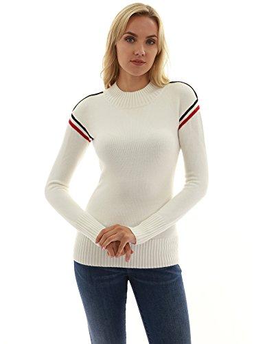 PattyBoutik Damen Trim Mock Hals Langarm Pullover (elfenbein 40/M) (Mock Hals)