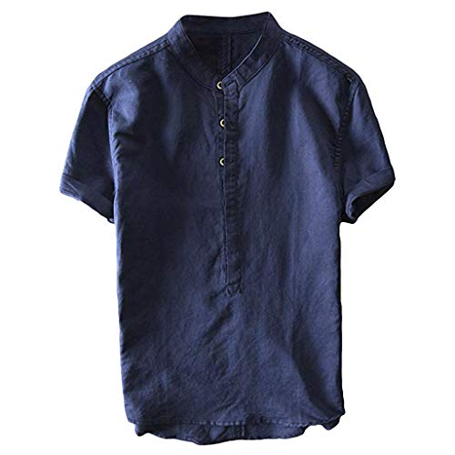 UINGKID Herren T-Shirt Kurzarm Slim fit Sommer cool und dünn atmungsaktiv Kragen hängen gefärbt Farbverlauf Baumwollhemd -