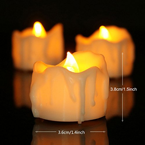 LED Kerzen, 12 LED Flammenlose Kerzen, Weihnachten LED Teelichter, Elektrische Teelichter Kerzen für Weihnachten, Halloween, Hochzeit, Party, Bar, ( Flicker Gelb) (Halloween-led-kerzen)