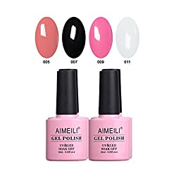 SET4-1: AIMEILI Soak Off UV LED Gel Nail Polish Multicolor / Mix Color / Combo Color Set Of 4pcs X 10ml - Kit Set 1