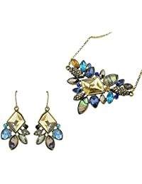 Antique Gold-Color With Colorful Rhinestone Flower Pendant Necklace With Dangle Earrings