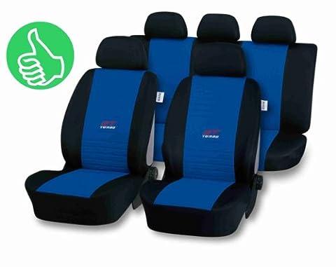 Universal Schonbezug Sitzbezug GT-TURBO blau für Seat Ibiza (6K,6L,6J), Leon (1P,1M), Toledo (1M,5P)