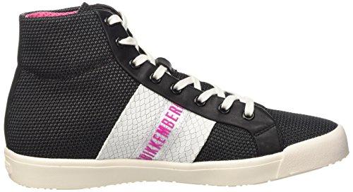 Bikkembergs Campus 121 M.Shoes W Fabric/Leather, Scarpe a Collo Alto Donna Nero (Black/White)