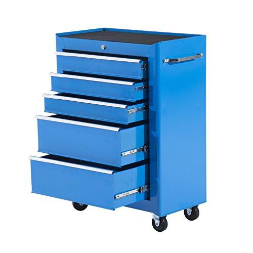 HOMCOM Carro de Herramientas Taller Movil con 5 Cajones Ruedas 2 Colores (Azul)