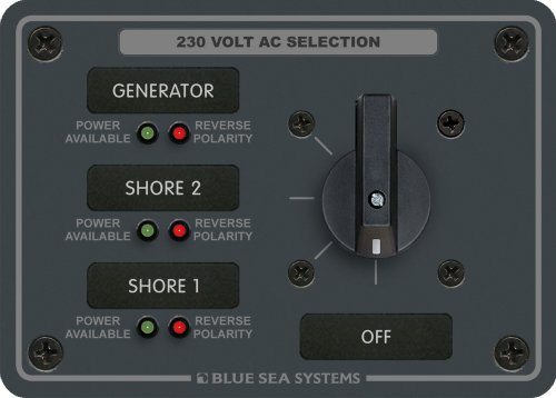 Blue Sea Systems AC Rotary Switch Panel 30 Ampere 3 Positionen + Off, 2 Pole Ac Rotary Switch Panel