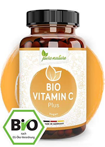 Natürliches Vitamin C Plus - 180 Vegan Kapseln - Für Immun- und Nervensystem - BIO zertifiziert - Rein ohne Zusätze - Maximale Bioverfügbarkeit