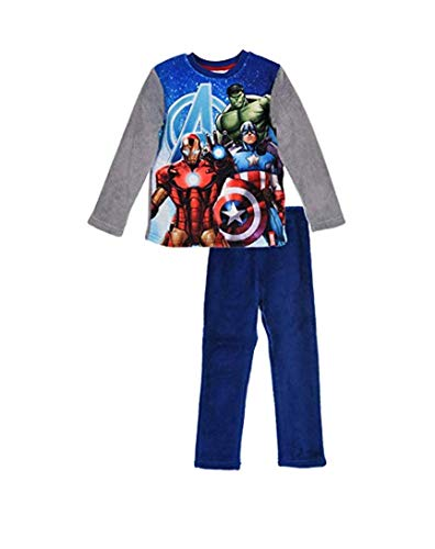 Marvel Avengers Zweiteiliger Kinder Winter Schalfanzug Pyjama Nachthemd Hose + Langarm Shirt aus Thermo Polar Fleece Vlies warm weich – schönes Geschenk für Jungen (blau 116) - Langarm Nachthemd Thermo