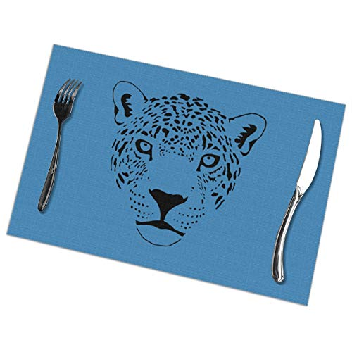 Dimension Art Jaguar Cougar Cat Puma Panther Leopard Placemats Set of 6 for Dining Table Washable Polyester Placemat Non-Slip Wear and Heat Resistant Kitchen Table Mats Easy to Clean -