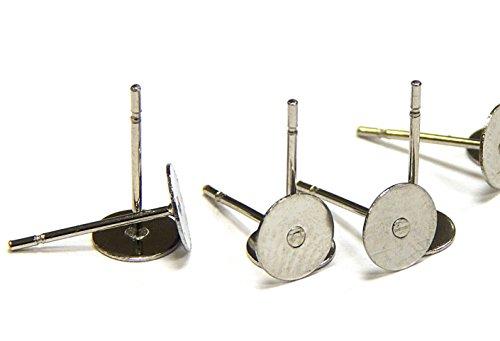 Perlin 50 Ohrstecker Ohrhaken Ohrring Fassung für 8mm Cabochons Edelstahl 304 Rund M124