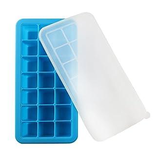 vitasemcepli Eiswürfel mit Deckel Silikon Behälter für Lebensmittel aufbewahren und Füttern und Babynahrung Kind Silikon Backform für Eis a Kapazität von 3,3x 3,3x 3,3cm