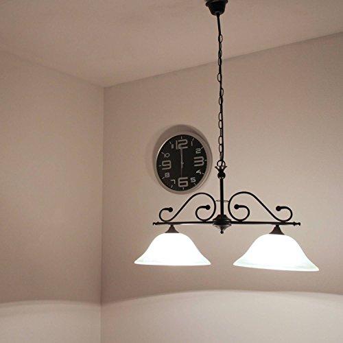 mattschwarze Deckenleuchte mit Alabasterglas 1/4/755 Deckenlampe Landhausstil