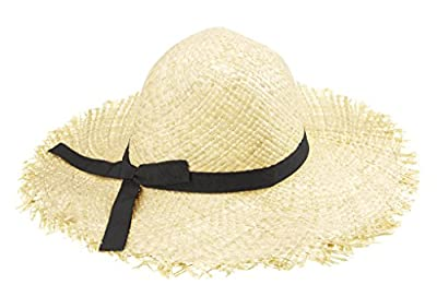 Faltbar Damen Strandhut, Große Krempe Strohhut mit Schleife, Eltern Kind Bogen Grate Strand Sommerhut, Familie Reisen Sonnenhut für Erwachsene von BXT - Outdoor Shop