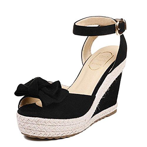 Keil Sandalen Frauen Komfort Open-Toe Knöchelriemen Sommer Fisch Mund Bogen Schnalle Gürtel Wasserdichte Plattform,Black-37 (Schönheit Keil)
