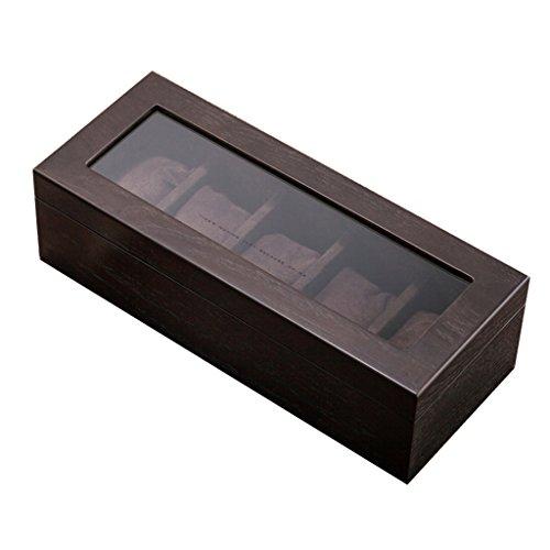 Holz Uhrenbox Glas Schiebedach Brown Uhren Display Aufbewahrungskoffer Mechanische Uhr Display Boxen für Schmuck Armband Sammlungen 5 Gürtel (Glas-rand Beendet)