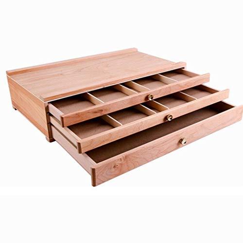 WXFO Caja de pintura al óleo de sobremesa con 3 capas, diseño independiente para facilitar su transporte, almacenamiento conveniente, fabricación de abedul 39,7 * 24,3 * 10 cm, color de madera Caballe