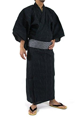 Edoten Men's Kimono Japan Shijira Weaving Yukata 703 Black L - 5