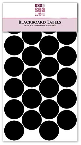 24 SMALL ROUND BLACKBOARD STICKERS By Essesea Re-writable Circular Chalkboard Labels (30mm Diameter)