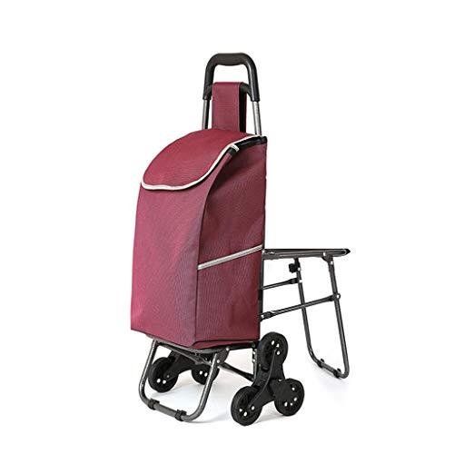 MLXSLC Faltender Laufkatze, Einkaufswagenkletternder Treppenwageneinkaufskarren Alter Kleiner Wagenlaufkatzen-Klappschemel (Farbe : C)